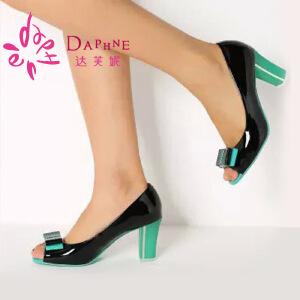Daphne/达芙妮女单鞋 甜美OL双层蝴蝶结鱼嘴粗高跟单鞋1014102073