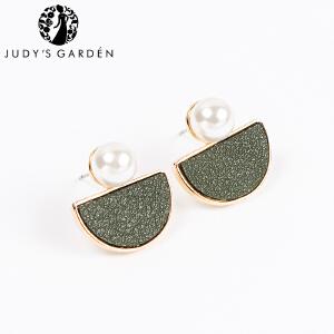 【茱蒂的花园】半月皮面珍珠女士款耳饰耳钉耳插耳圈耳环耳线耳坠时尚玫瑰金真金保色电镀防敏处理送女友礼物