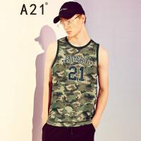 A21新款迷彩字母印花背心男夏季潮青年学生运动速干无袖背心t恤