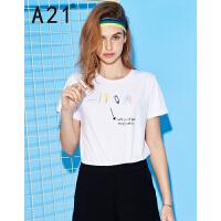 以纯线上品牌a21 2017夏装新款短袖T恤女 时尚趣味印花圆领短袖衫