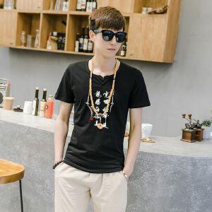 EASZin逸纯印品 男式短袖T恤 2017夏季新款中国风虎啸文字印花体恤衫