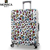 摩斯卡 防刮PC铝框拉杆箱万向轮行李箱女学生旅行箱包20/24英寸登机箱子