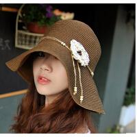 沙滩草帽夏天出游优雅花朵   女帽子大檐帽遮阳帽