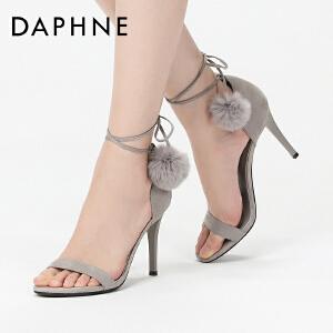 Daphne/达芙妮17夏性感超高跟宴会女鞋 优雅绒面毛绒绕带细跟凉鞋