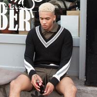 VIISHOW秋装新款男士针织衫撞色条纹v领毛衣男青年套头毛线衣