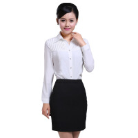 时尚韩版修身衬衫 女式衬衫秋冬长袖 新款白色气质纯棉女衬衫女性职业套装修身显瘦气质女装