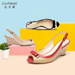 Daphne达芙妮女鞋 春季 蝴蝶结坡跟凉鞋高跟鞋1015303009