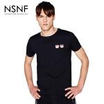 NSNF纯棉撞色眼镜印花黑色短袖T恤 2017春夏新款