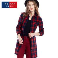 BRIOSO 2017春装新款格纹开身款连衣裙 欧美风全棉格子风衣外套 修身显瘦百搭裙子 WG58995-2
