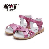 斯纳菲女童凉鞋真皮2017夏季新款儿童鞋小学生女孩中大童公主凉鞋