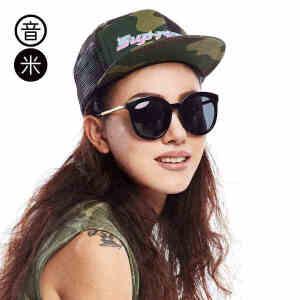 音米偏光镜透明大框猫眼墨镜女复古炫彩太阳镜女司机镜 AASBPY002