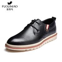 富贵鸟男鞋休闲鞋尖头系带低帮鞋男士皮鞋