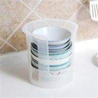 佑木 厨房放碗碟收纳架 透明塑料碗盘收纳盒整理架储物架碗架