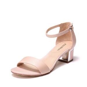 富贵鸟头层羊皮女鞋简约清新可爱女凉鞋粗跟舒适女鞋