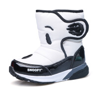 史努比童鞋男童雪地靴中筒靴冬季新款保暖中小童加绒保暖冬鞋