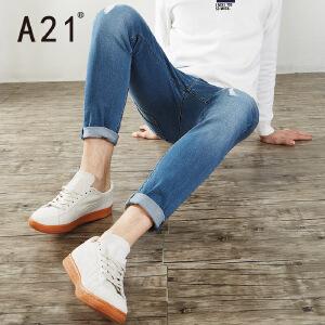 以纯A21男士裤子冬季新款2017潮牛仔裤男小脚修身型学生显瘦秋冬款