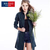 BRIOSO 2017春装新款开身款百搭格子连衣裙 欧美风全棉格子连衣裙 修身显瘦百搭 WG58995-1