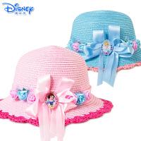 Disney迪士尼儿童白雪公主帽子春秋夏季太阳帽女童遮阳帽小孩草帽沙滩帽