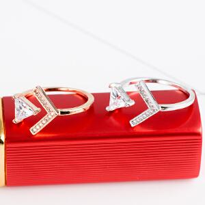 【茱蒂的花园】新款轻奢玫瑰金白金开口活口可调节戒电镀真金简约百搭女士时尚指环指套女生女式女款送女友礼物