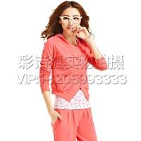 休闲运动服套装女夏2016春季新款大码卫衣三件套女士修身西瓜红