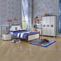 尚满 卧室儿童家具5件套房 标准单床 床头柜 书桌书架 三门衣柜 (不含椅子)床垫另买