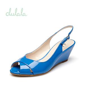 Daphne/达芙妮夏季 凉鞋 坡高跟一字扣防滑鱼嘴女鞋1715303919