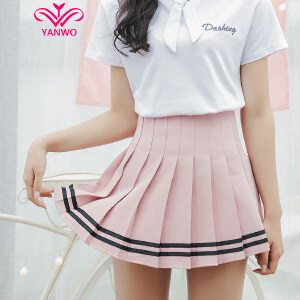 演沃 好质量!新增粉色 学院风 短裙半身裙 学生百褶裙子 女