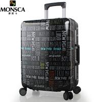 摩斯卡 超轻耐磨PC铝框拉杆箱万向轮学生行李箱男士旅行箱包登机箱子20/24英寸