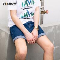VIISHOW017夏装新品五袋休闲牛仔短裤男可卷裤脚男士五分牛仔裤