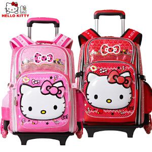 Hello Kitty 凯蒂猫小学生拉杆可拆卸女童卡通三轮爬楼拉杆书包TR-HK3212