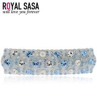 皇家莎莎Royalsasa韩版头饰奢华横夹时尚发卡人造水晶发夹发饰-若水蓝梦