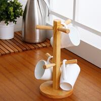 【可货到付款】欧润哲 实木悬挂杯架 水杯茶杯架咖啡杯架子 桌面收纳置物架杯子沥水架