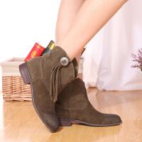 伊贝拉(YI-BELLA)秋季新款女靴真皮磨砂皮流苏短靴低跟圆头中筒靴方跟女靴套筒靴