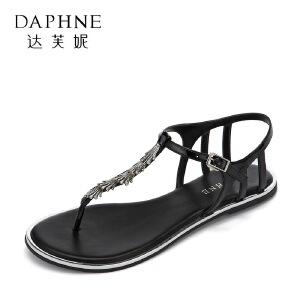Daphne/达芙妮2017夏正品休闲平底女鞋 时尚水钻丁字扣带夹趾凉鞋