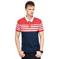 以纯A21男装修身翻领POLO衫 2017夏季新款红白条纹舒适时尚男士polo潮