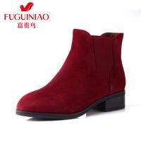 富贵鸟 秋冬新款女鞋 粗跟中跟短靴女 马丁靴女短筒切尔西靴