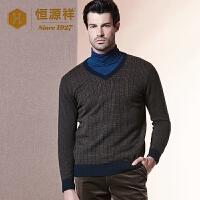 恒源祥 中年男士羊绒衫秋冬季新款经典格纹v领纯羊绒套头毛衣