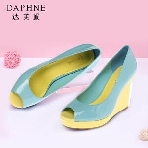 Daphne/达芙妮女鞋时尚鱼嘴鞋坡跟高跟单鞋1014102054
