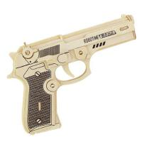 创意玩具若态科技儿童益智3D木制拼装模型伯莱塔手枪