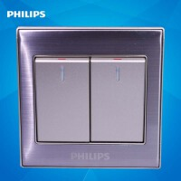 飞利浦墙壁面板开关插座86型金属系列Q8 212-2二位双开双路开关