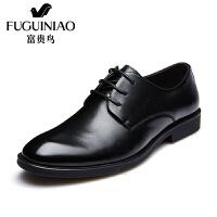 富贵鸟(FUGUINIAO)春季新款头层牛皮英伦风商务正装尖头系带男鞋婚鞋