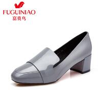 富贵鸟女鞋  秋季新款单鞋女粗跟方头时尚漆皮鞋子欧美小皮鞋