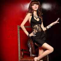 酒吧小姐性感修身包臀蕾丝拼接舞台装 时尚性感修身旗袍装夜店露背连衣裙演出领舞服
