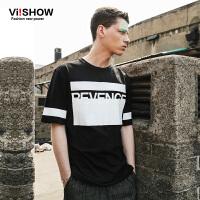 viishow夏装新款短袖T恤 潮流时尚原宿风短袖男 字母印花t恤