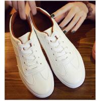匡王夏季皮面小白鞋系带白色帆布鞋韩版百搭厚底女鞋平底学生板鞋休闲鞋