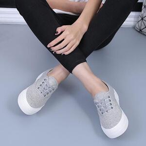 环球 秋季新款帆布鞋女鞋韩版低帮系带厚底松糕跟时尚休闲平底鞋
