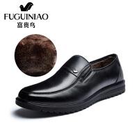 富贵鸟男鞋皮鞋冬季新款男士商务休闲皮鞋加绒保暖棉鞋爸爸鞋