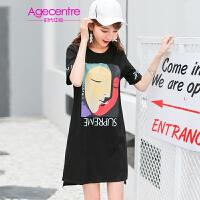 AGECENTRE时代中心 2017春女新款潮夏装夏季新款短袖人面撞色印花连衣裙女  中长款T恤