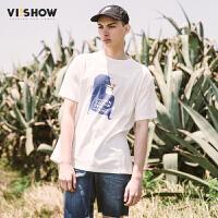 VIISHOW2017新款夏装纯棉印花短袖T恤男个性印花街潮男士短t