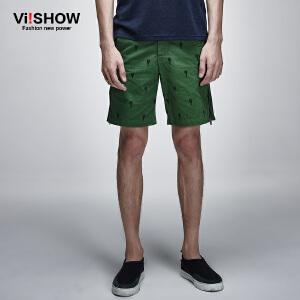 viishow夏装新款短裤男 时尚简约印花休闲短裤五分裤 直筒裤KD70652